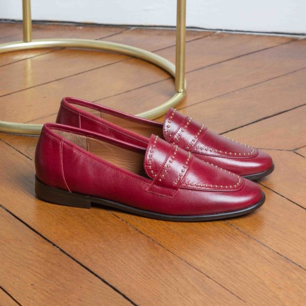 MOCASSIN ROUGE FONCE MARION TOUFET DARIA CUIR GLACE