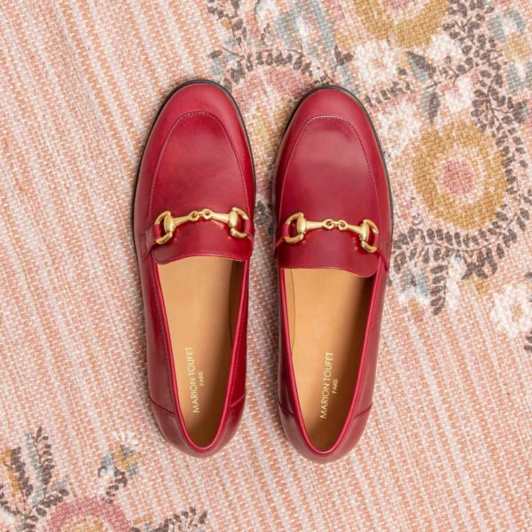 MOCASSIN ROUGE FONCE MARION TOUFET CLEMENCE CUIR GLACE
